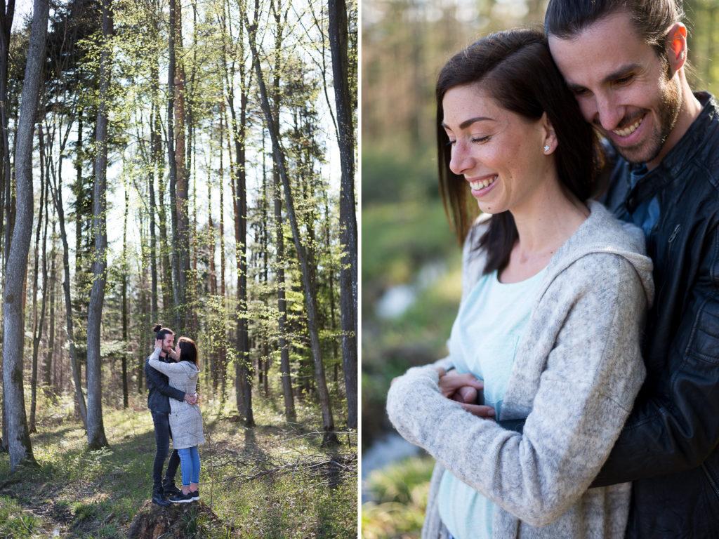 Natürliche entspannte Paarfotos im Wald Niederösterreich